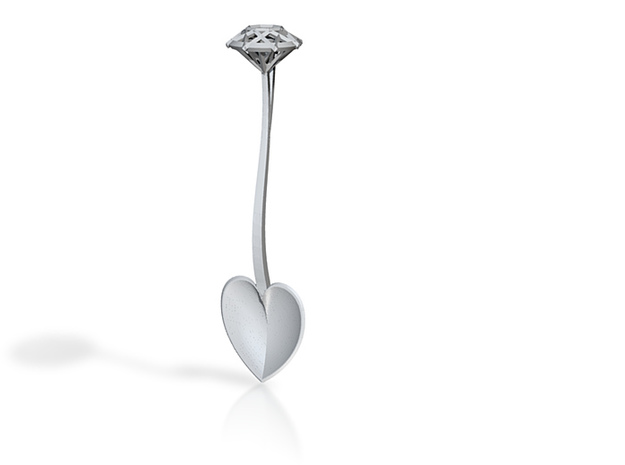 Heart and diamond silver teaspoon 3d printed
