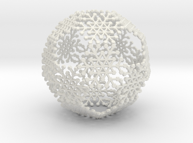 Snowflake #6 Ball Ornament 3d printed • Printed in White Strong and Flexible