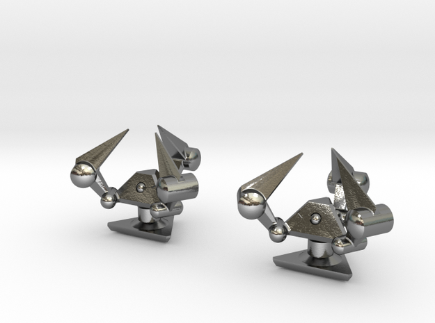 Tribot Cufflinks 3d printed Stainless Steel