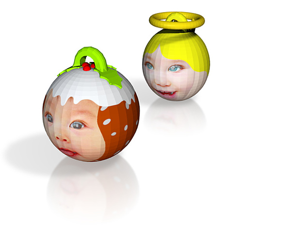 Angel & Puddin baubles twin pack (personalised) 3D 3d printed