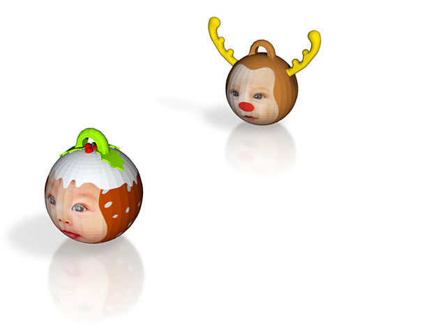 Reindeer& ChrisPuddin baubles twin pack (personali 3d printed