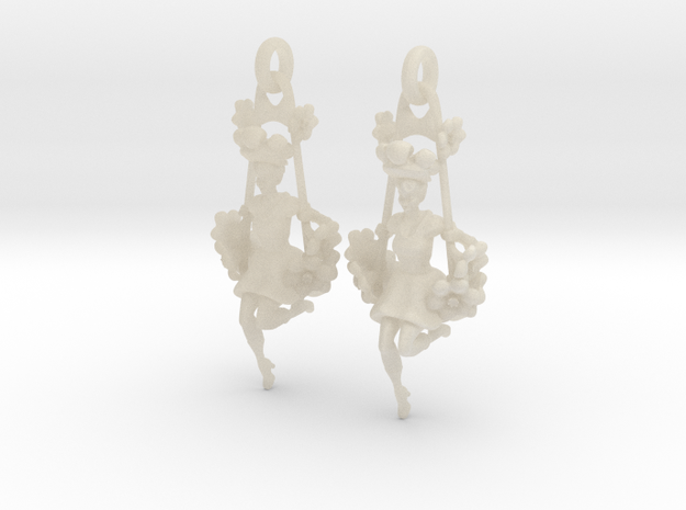 Victorian Steampunk Swing Lady Earrings 3d printed