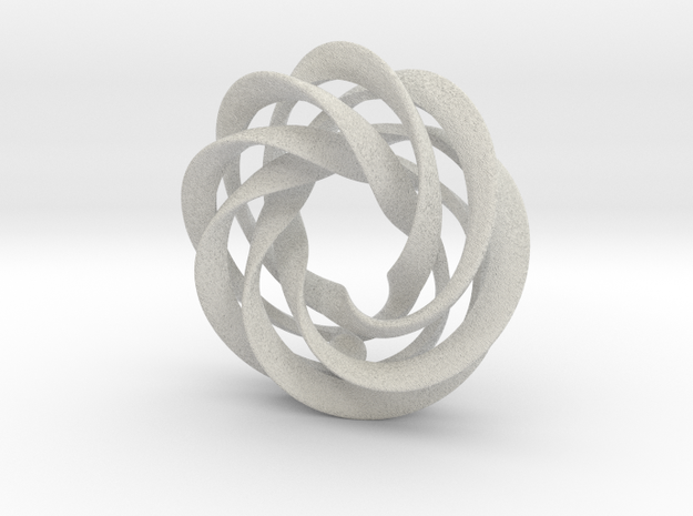 5 strand mobius spiral with ball - PENDANT 3d printed