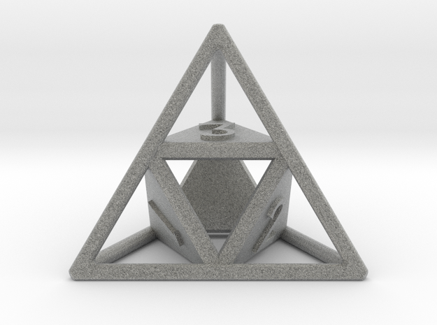 """Open"" d4 - Four-sided die 3d printed"