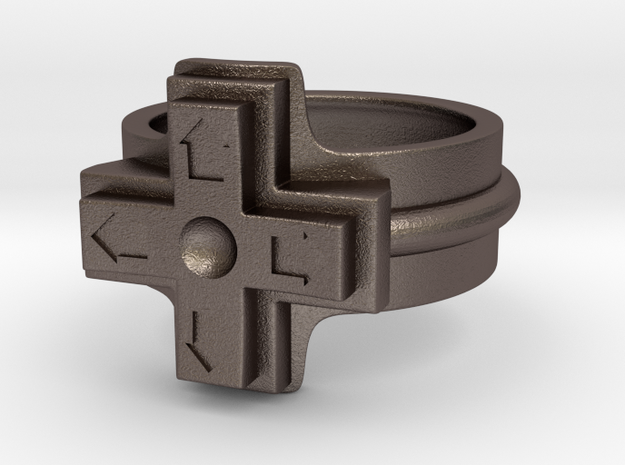 Ring of the gamer 3d printed This material is Polished Silver , Patinated with bleach