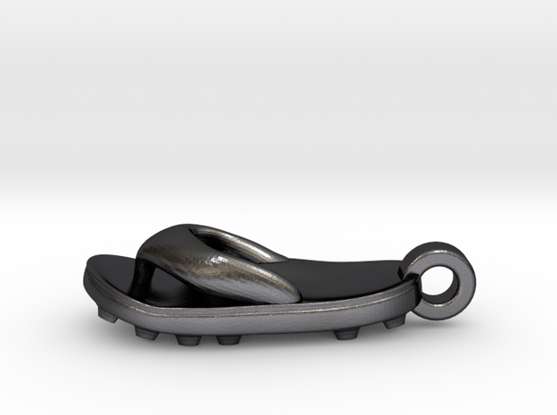Soccer / football flipflop pendant 3d printed flipflop sandal Polished Grey Steel