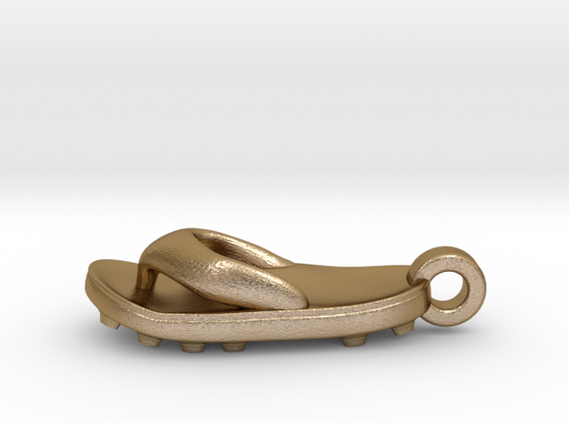 Soccer / football flipflop pendant 3d printed Polished Gold Steel flipflop sandal