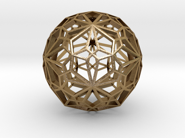 Compound of two pentagonal hexecontahedra 3d printed