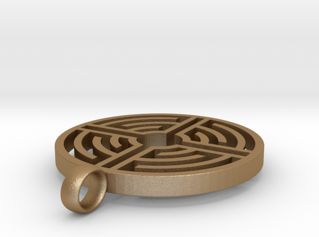 Labyrinth Pendant 3d printed