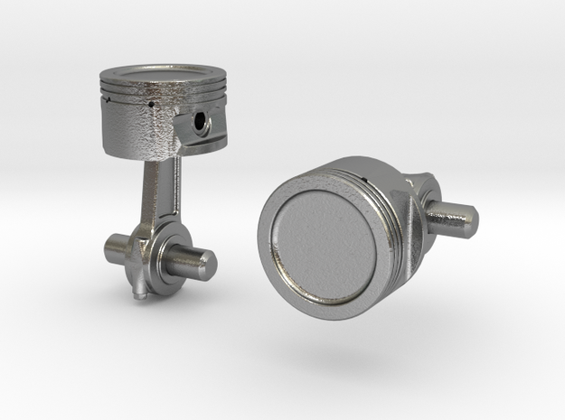 Piston Cufflinks 3d printed Close-up [Polished Silver]