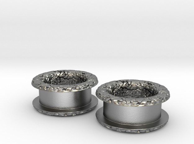 """1/2"""" Double Flared Silver Flesh Plugs 3d printed"""