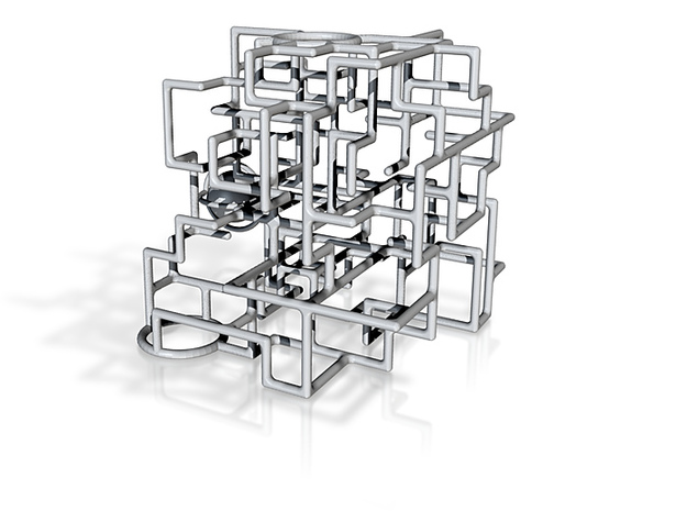 """Bare Bones"" - 3D Rolling Ball Maze in Clear Case( 3d printed"