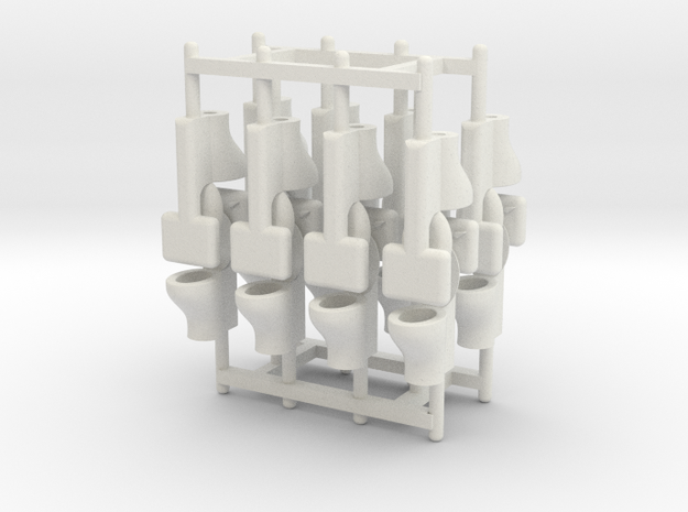 HO Scale (1:87) Commode, 16 pieces 3d printed ShapeWays user @DaKra has added his own laser-cut toilet seat to this commode!
