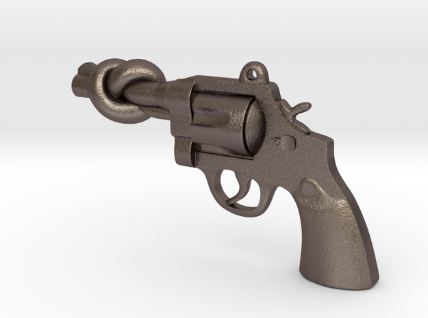 KnotN2Guns Pendant 3d printed Gold Plated Brass material