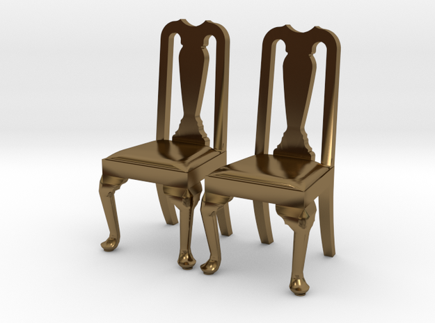 Pair of 1:48 Queen Anne Chairs 3d printed