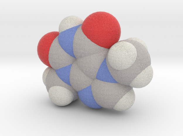 Theobromine molecule (x40,000,000, 1A = 4mm) 3d printed