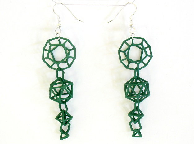 Platonic Progression Earrings - Clean 3d printed Printed in green strong and flexible, with earwires added