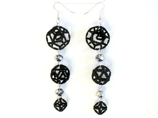 Platonic Progression Earrings - Organic 3d printed Printed in black strong and flexible, with some extra components added by hand