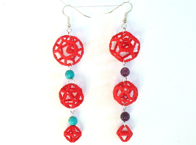 Platonic Progression Earrings - Organic 3d printed Printed in red strong and flexible, with some extra components added