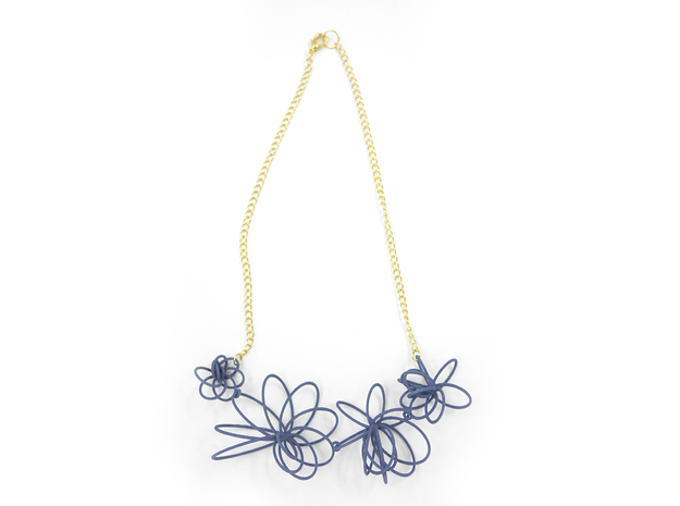 Flora Necklace 3d printed Azurite (Custom Dyed Color)