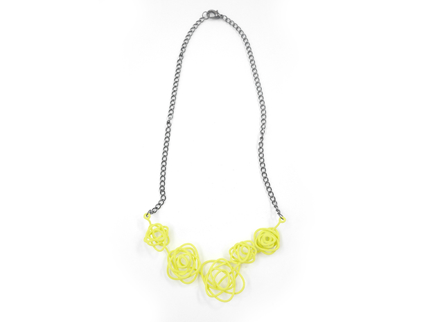 Sprouted Spiral Necklace 3d printed Key Lime (Custom Dyed Color)
