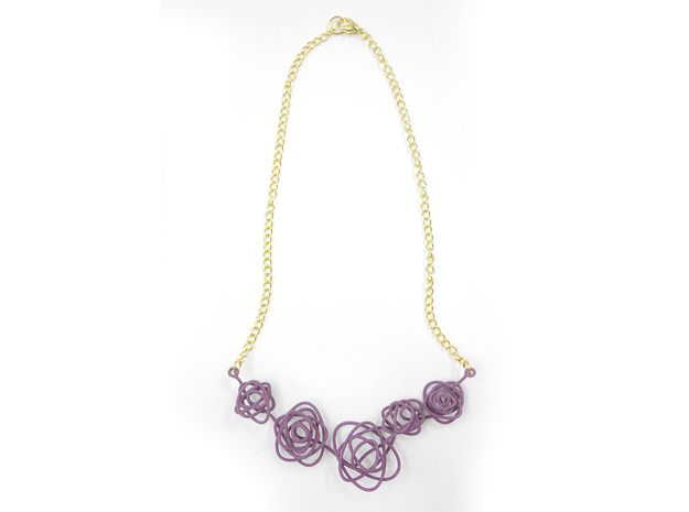 Sprouted Spiral Necklace 3d printed Wisteria (Custom Dyed Color)