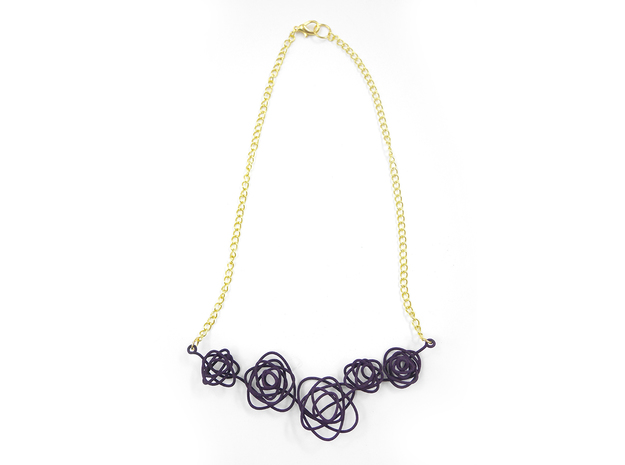 Sprouted Spiral Necklace 3d printed Midnight (Custom Dyed Color)