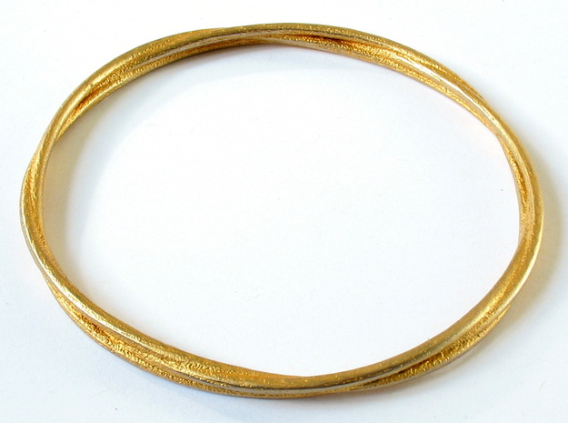 Three loops bangle 3d printed Printed in 24k gold-plated steel