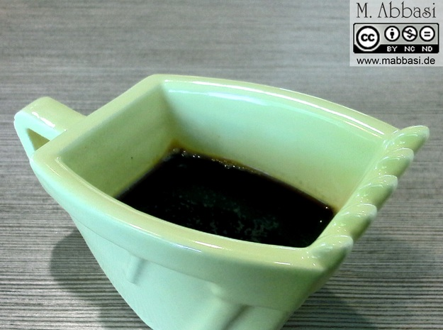 Excavator Bucket - Espresso Cup (Porcelain) 3d printed (old ceramic) The real one in yellow