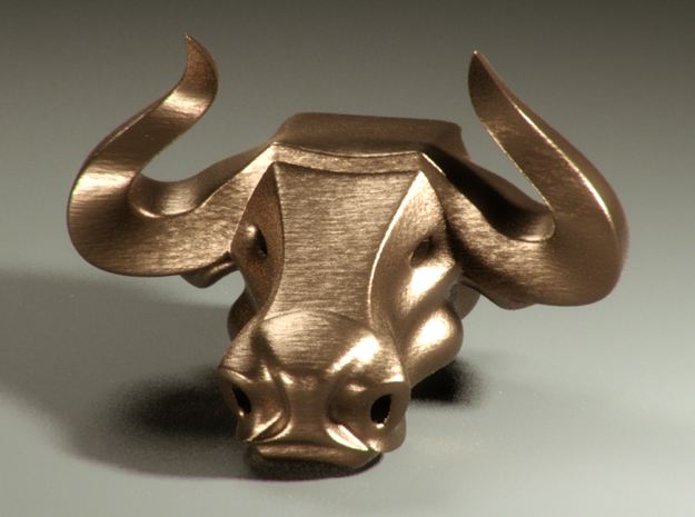 Bull head bottle opener (small) 3d printed Front, in bronze