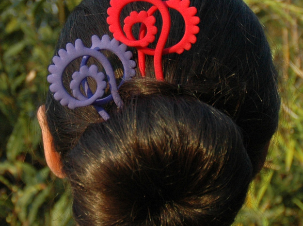 Flamenco- nouveau hair Pin 3d printed