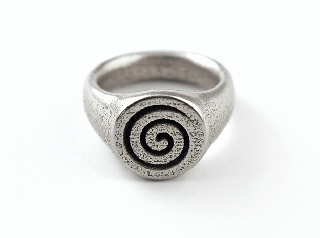 Spiral Ring 3d printed Stainless Steel
