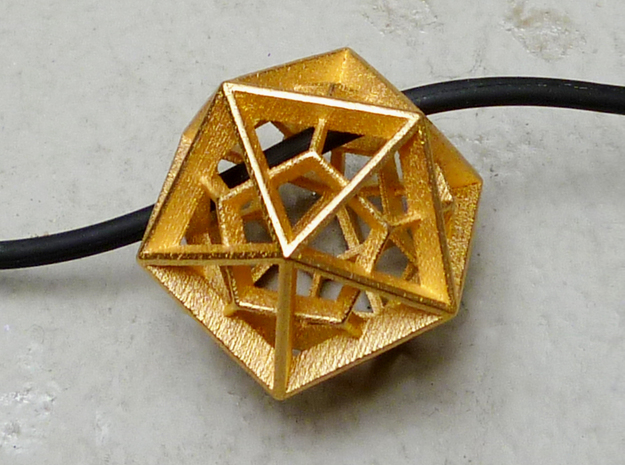 Polyhedral Sculpture #26 - Pendant 3d printed Printed in Gold Plated Glossy