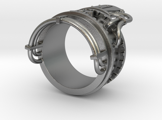 Steampower ring v2 3d printed Stainless steel