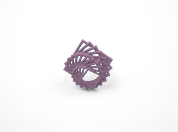 Arithmetic Ring (Size 7) 3d printed Wisteria Nylon (Custom Dyed Color)
