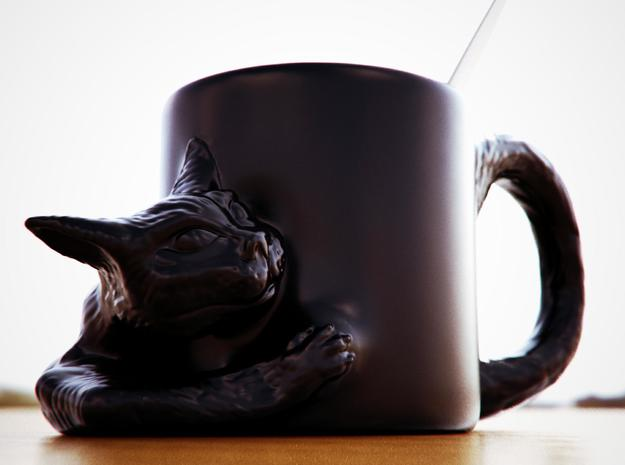curious cat mug 3d printed