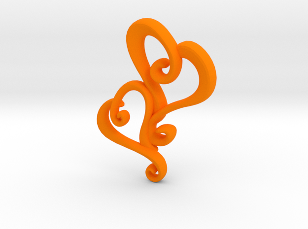 Swirly Hearts Pendant/Keychain 3d printed