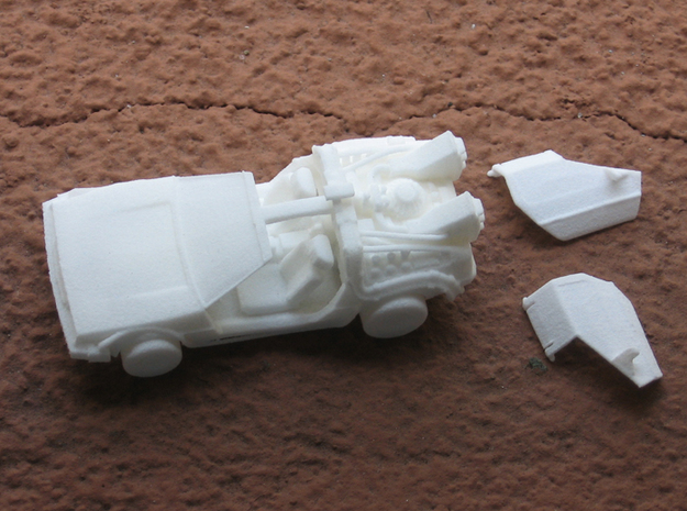 Time Traveling Delorean 3d printed WSF print before I put the door in, left side