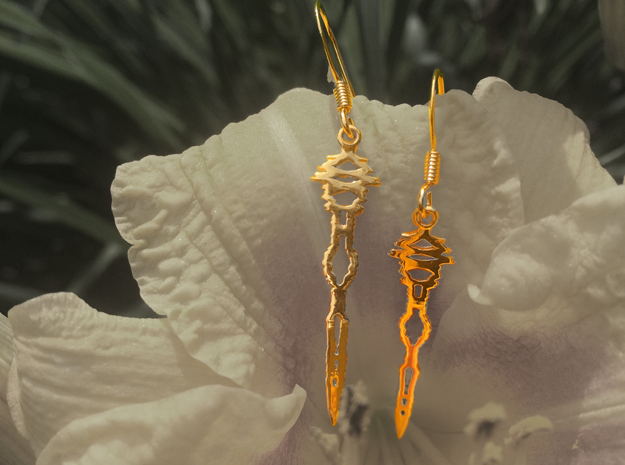 """I Love You"" Sound Wave Earrings 3d printed I Love You Earrings in Gold with Gold Plated Ear Hooks"