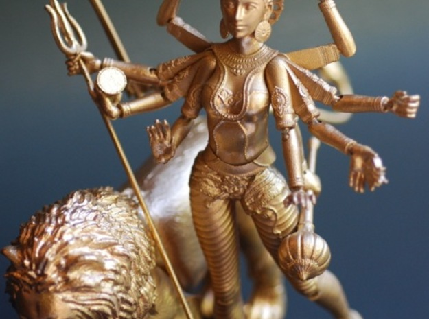 Heroes of the World: Durga Action Figure 3d printed Durga with her lion.