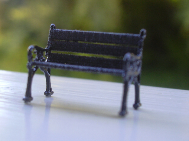 2 Seat Bench 1:76 scale 3d printed 1st coat of paint - model on the edge of my balcony.