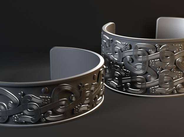 Intertwined Dragon Bracelet - 1 row ver 3 3d printed