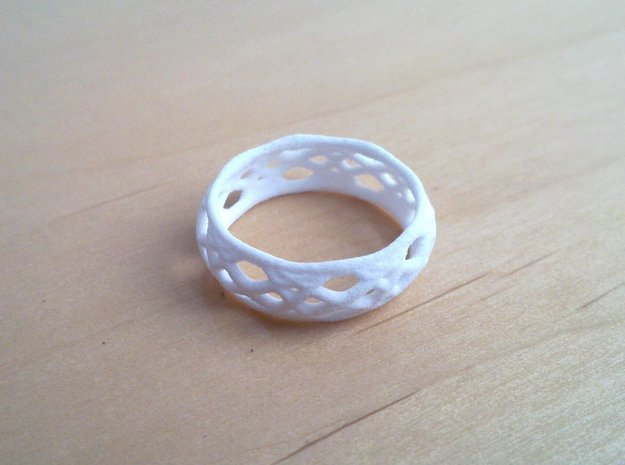 Sine Ring Bulge 3d printed Ring printed in White Strong & Flexible