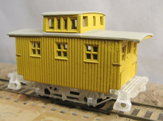 R24b New N Chassis for Bachmann Bobber Caboose x2 3d printed R24b under modeified Bach bobber