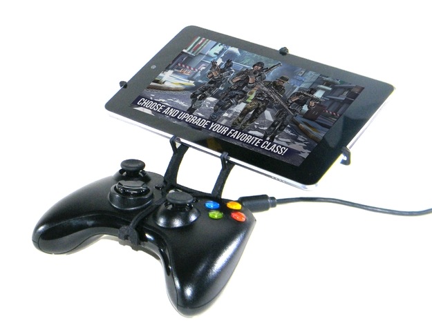 Xbox 360 controller & LG Optimus Pad LTE 3d printed Front View - A Nexus 7 and a black Xbox 360 controller