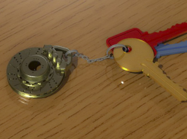 Disc brake keychain 3d printed Gold plated glossy