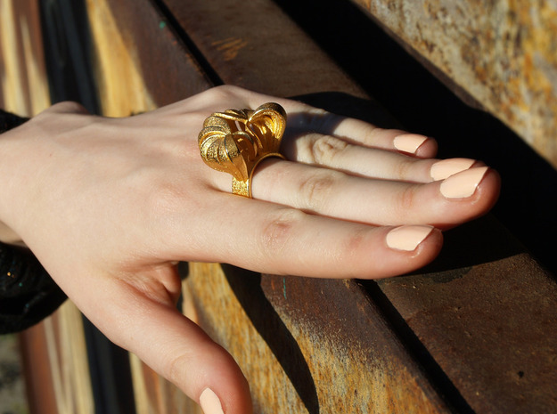 Pumpkin Ring Size 6 3d printed Gold