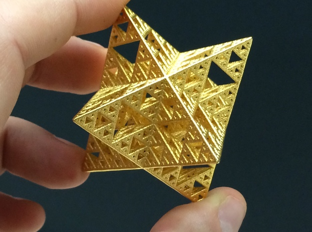 Sierpinski Octostar 3.75cm 3d printed Polished Gold Steel