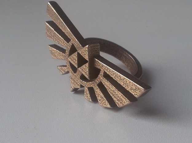 Large Triforce Ring 3d printed Stainless Steel