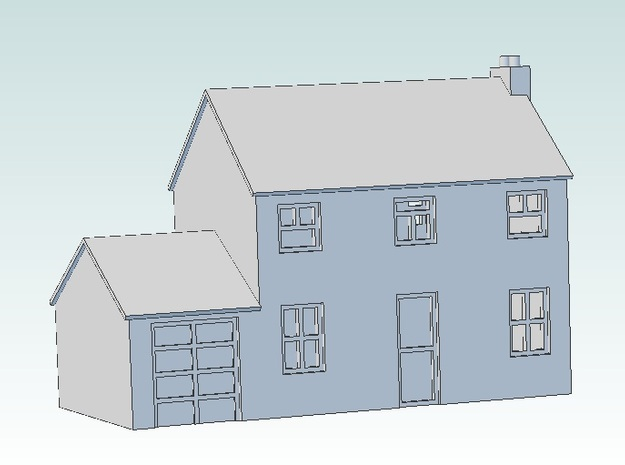 T Gauge House (with garage) 3d printed